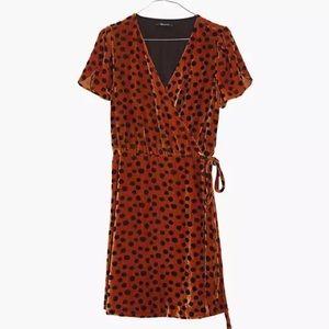 Madewell Velvet Wrap Dress in Leopard Dot Sz S